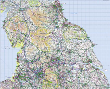4. Ordnance Survey Road Map Northern England - Wall Map